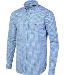 camisa celeste brooksfield milano cuadros 8