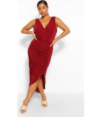 plus strakke midi wikkel jurk met textuur, wijn