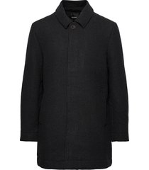 wool mac coat wollen jas lange jas zwart lyle & scott