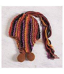 alpaca blend chullo hat, 'fiery fun' (peru)
