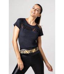 t-shirt alto giro skin fit roletes frente preta fernanda mot preto