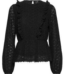 vmhenny lace l/s peplum top exp blus långärmad svart vero moda