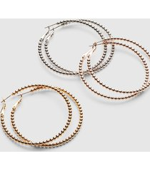lane bryant women's beaded-effect hoop earrings - 3-pack onesz silver tone