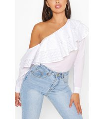 broderie anglaise ruffle one shoulder top, white