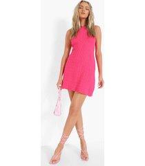 gebreide swing jurk met halter neck, hot pink