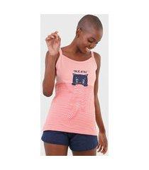 short-doll pzama meow rosa/azul-marinho
