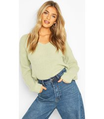 cropped fisherman v neck sweater, sage