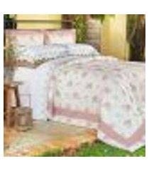 jogo de cama king 150 fios di cotone rose ione enxovais 3 peças