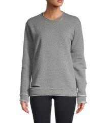 alala women's cypher distressed sweatshirt - heather grey - size xs