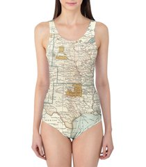 antique united states map women's swimsuit