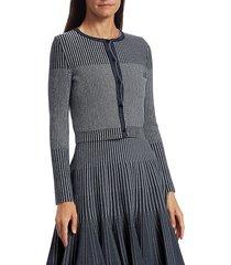 oscar de la renta women's cropped knit cardigan - navy white - size s