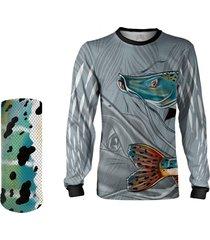 camisa + máscara pesca quisty pintado moleque cinza proteção uv dryfit infantil/adulto - camiseta de pesca quisty