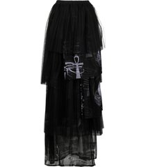 barbara bologna ankh cross print asymmetric skirt - black