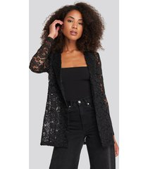 na-kd party lace double breasted blazer - black