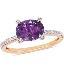 amethyst (1-5/8 ct.t.w.) and diamond (1/10 ct.t.w.) ring in 10k rose gold
