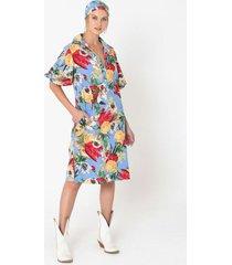 vestido corto tipo camisero estampado tropical mangas  globo