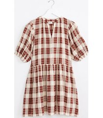 lou & grey lou & grey plaid puff sleeve midi dress