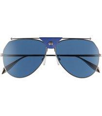 alexander mcqueen 61mm aviator sunglasses in silver/blue at nordstrom