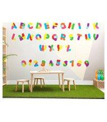 adesivo de parede alfabeto e números quebra cabeça 36un