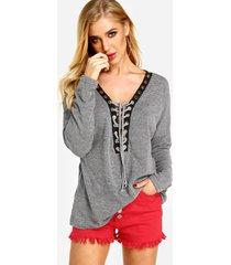 camisetas informales con cordones y escote en v profundo y sexy en gris jaspeado