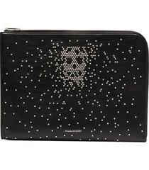 alexander mcqueen stud-embellished logo-print clutch bag - black