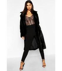 getextuurde faux fur jas met ceintuur, zwart