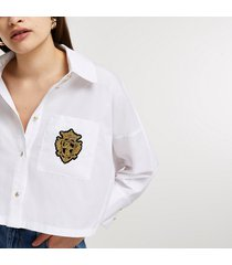 river island womens white batwing badged cropped shirt