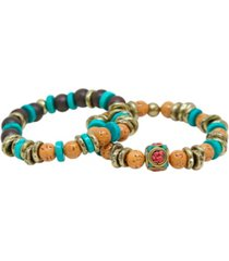 mr ettika turquoise, wood and brass elastic bracelet, pack of 2