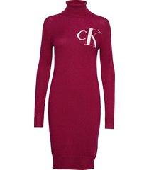 monogram tn sweater gebreide jurk rood calvin klein jeans