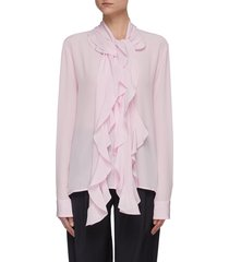 frill scarf silk blouse