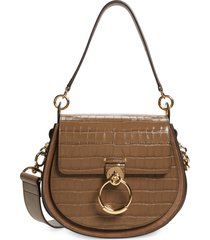 chloe medium tess croc embossed calfskin leather shoulder bag - brown