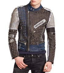 new handmade men's golden studded multi color leather jacket men style