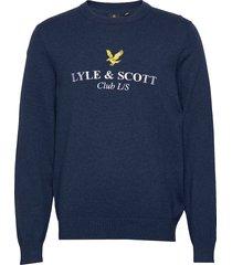 club l/s knitted jumper stickad tröja m. rund krage blå lyle & scott