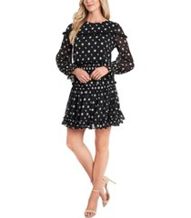 cece ruffled-yoke floral-embroidered dress