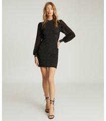 reiss sia - metallic semi-sheer sleeve dress in black, womens, size xl