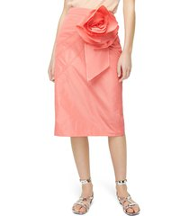 women's j.crew taffeta rosette pencil skirt, size 2 - pink