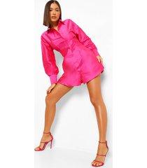 getailleerde taffeta blouse jurk, hot pink