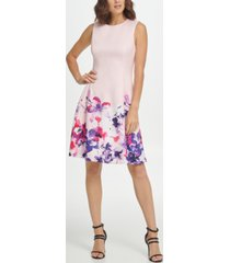 dkny sleeveless floral fit & flare dress