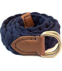 cinto em algodão trançado a mão com ponteiras em couro e pespontos em ponto celeiro isiero braidhand azul marinho - kanui