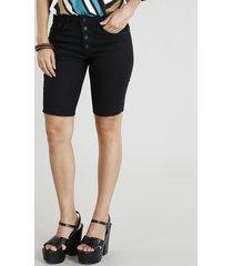 bermuda jeans feminina ciclista com botões preta