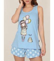 pyjama's / nachthemden admas pyjama shorts tank top i wish santoro blue