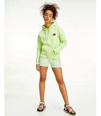 tommy hilfiger women's organic cotton tommy badge hoodie faded lime - l