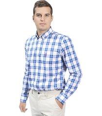 camisa a cuadros popelina - blanco con azul