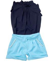 shorts liminha doce azul e blusa preta
