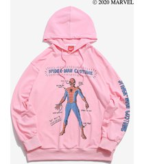marvel spider-man letter graphic print drawstring hoodie