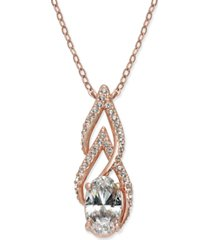 eliot danori rose gold-tone crystal & pave pendant necklace, created for macy's