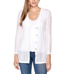 belldini black label petite striped long sleeve button-front cardigan sweater