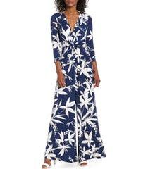 women's eliza j twist wide leg jumpsuit, size 8 - blue