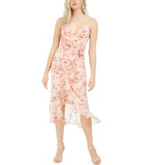 bardot surplice floral-print midi dress