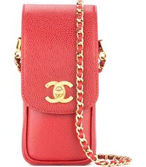 chanel pre-owned 1996-1997 chain shoulder phone case - red